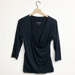 Soft Surroundings Black Jersey Wrap Top